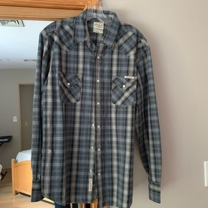 New Lucky Brand Plaid Snap-Front Western Shirt M